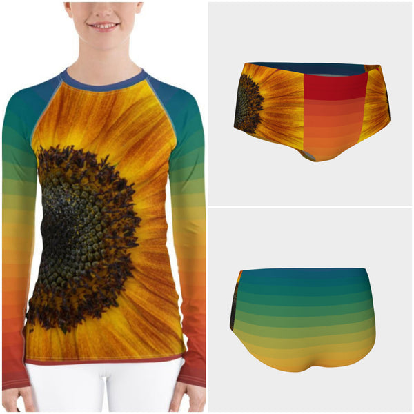 Sunflower Dayz Rash Guard, Rashguard- WhimzyTees