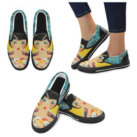 Floral Flapper Girl Canvas Slip-ons (2 options), Shoe- WhimzyTees