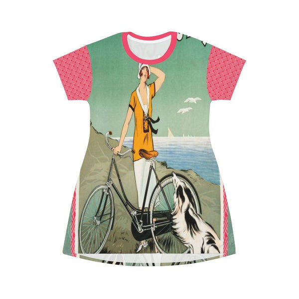 La Bicyclette T-shirt Dress, Dress- WhimzyTees
