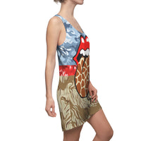 Giraffe Safari Racerback Dress, Dress- WhimzyTees