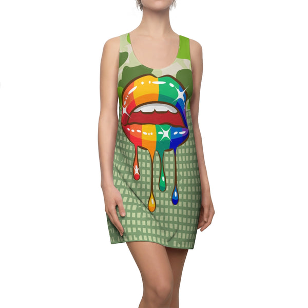 Rainbow Kiss Racerback Dress, Dress- WhimzyTees