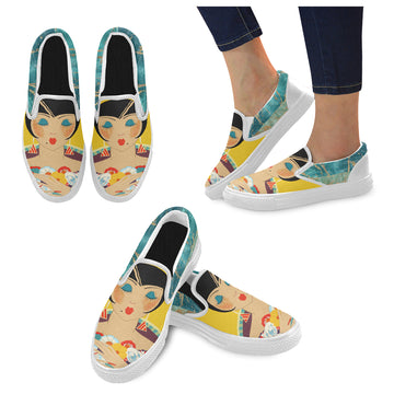 Floral Flapper Girl Canvas Slip-ons (2 options)