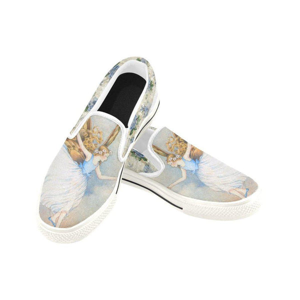 Bluebell Fairy Floral Canvas Slip-ons, Shoe- WhimzyTees