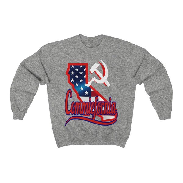 Commiefornia Hammer & Sickle HD Crewneck Sweatshirt, Flipit Red- WhimzyTees