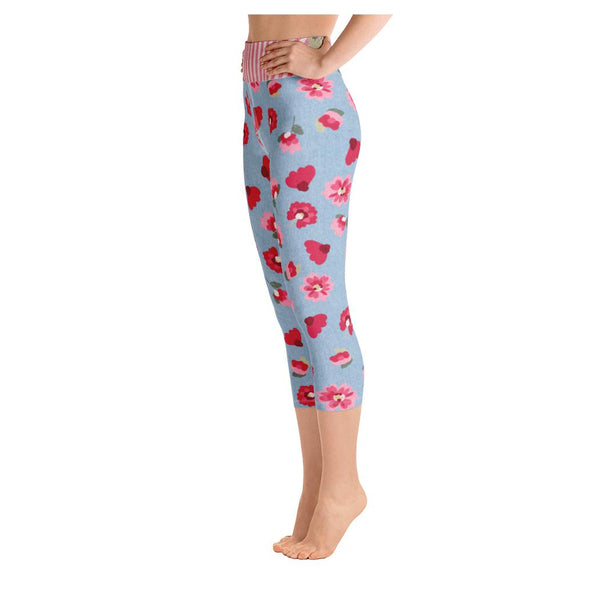 Rose Bloom Yoga Capris, Leggings- WhimzyTees