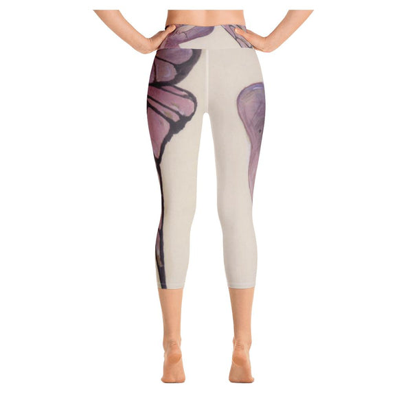 Beauty Butterfly Yoga Capris, Leggings- WhimzyTees