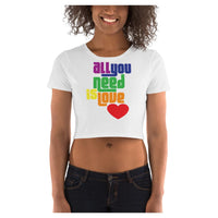 All You Need is Love Crop Tee, Crop Top- WhimzyTees