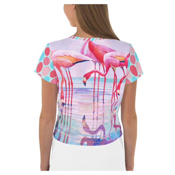 The Lucky Flamingo Crop Tee, Crop Top- WhimzyTees