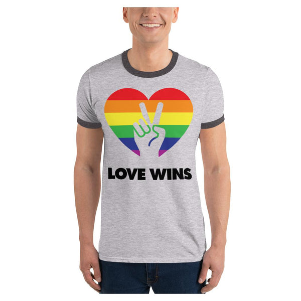Love Wins Ringer Tee, Tee- WhimzyTees