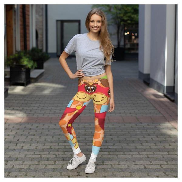 Super Giraffe Leggings, Leggings- WhimzyTees
