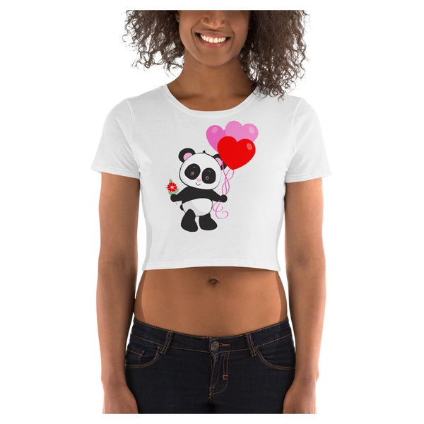 Panda Love Crop Tee, Tee- WhimzyTees