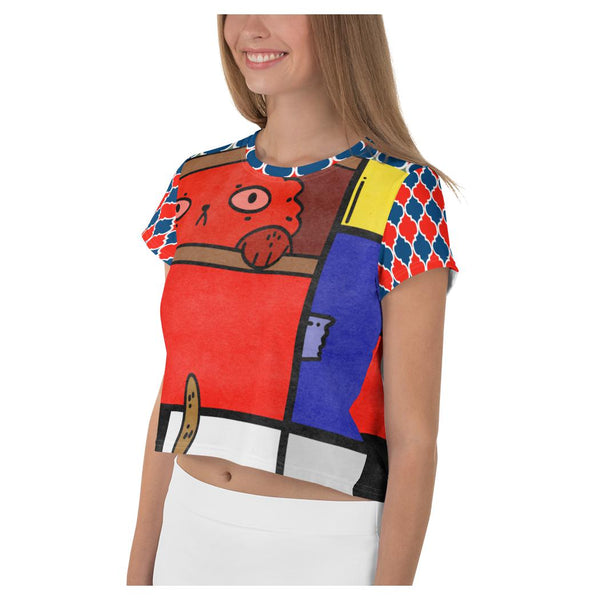 Cat in a Box Crop Tee, Crop Top- WhimzyTees