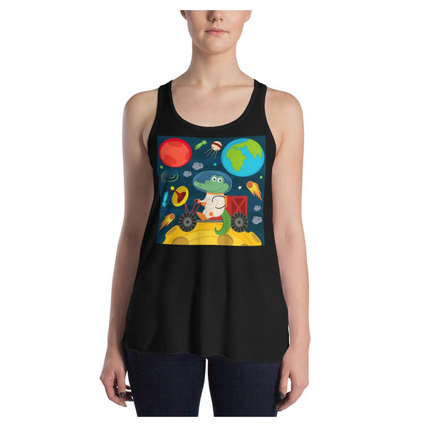 Space Crocodile Racerback Tank, Tank- WhimzyTees