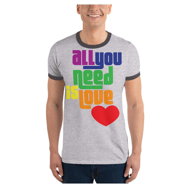 All You Need is Love Ringer Tee, Tee- WhimzyTees