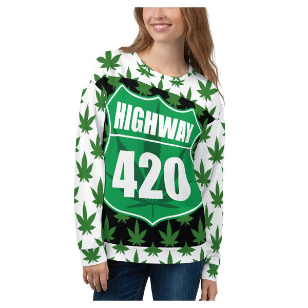 Green Highway Sweatshirt, Sweatshirt- WhimzyTees