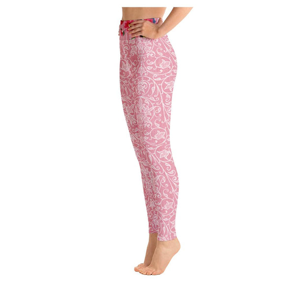 Rose Bloom Yoga Leggings, Leggings- WhimzyTees