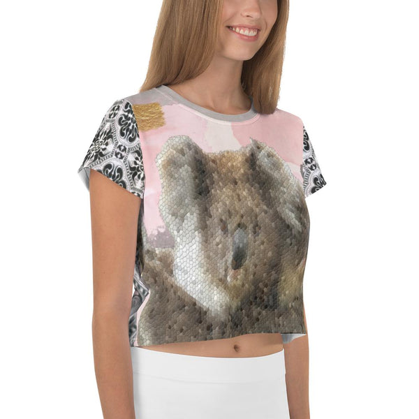 Koala-Ki AOP Crop Tee, Crop Top- WhimzyTees