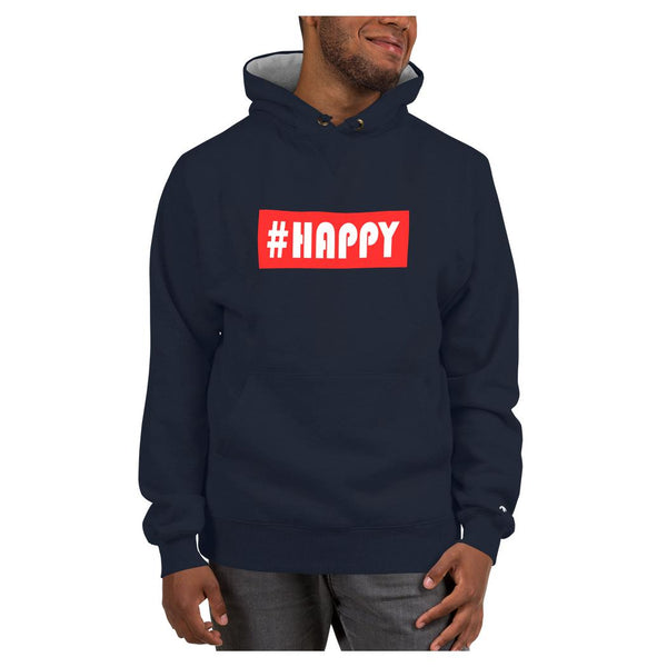 Hashtag Happy Hoodie (Champion), Hoodie- WhimzyTees