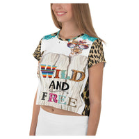 Wild and Free AOP Crop Top, Crop Top- WhimzyTees
