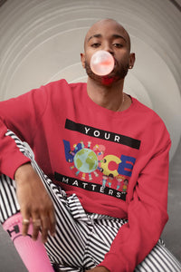 Your Voice Matters HD Crewneck Sweatshirt, Flipit Red- WhimzyTees