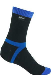 Double Cotton Socks Mid Length - Black-Blue Stripe