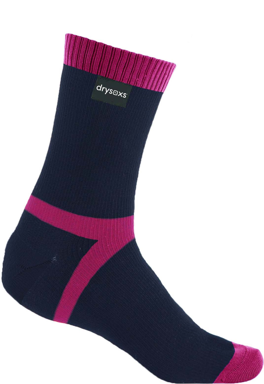 Double Cotton Socks Mid Length - Navy-Pink Stripe
