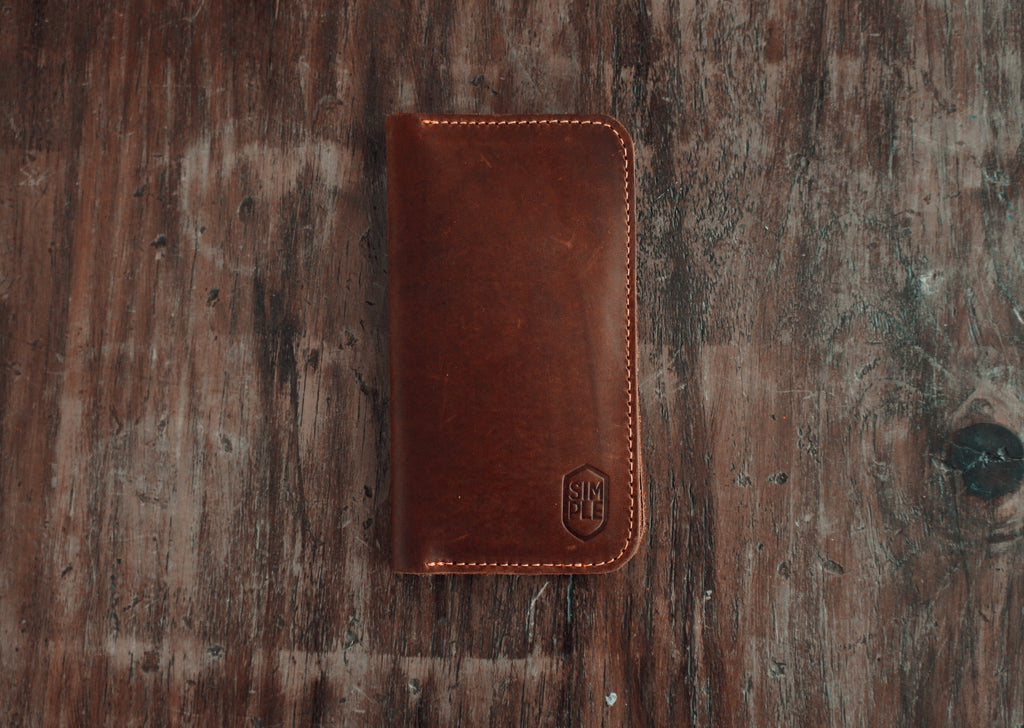 handmade brown leather iPhone case wallet