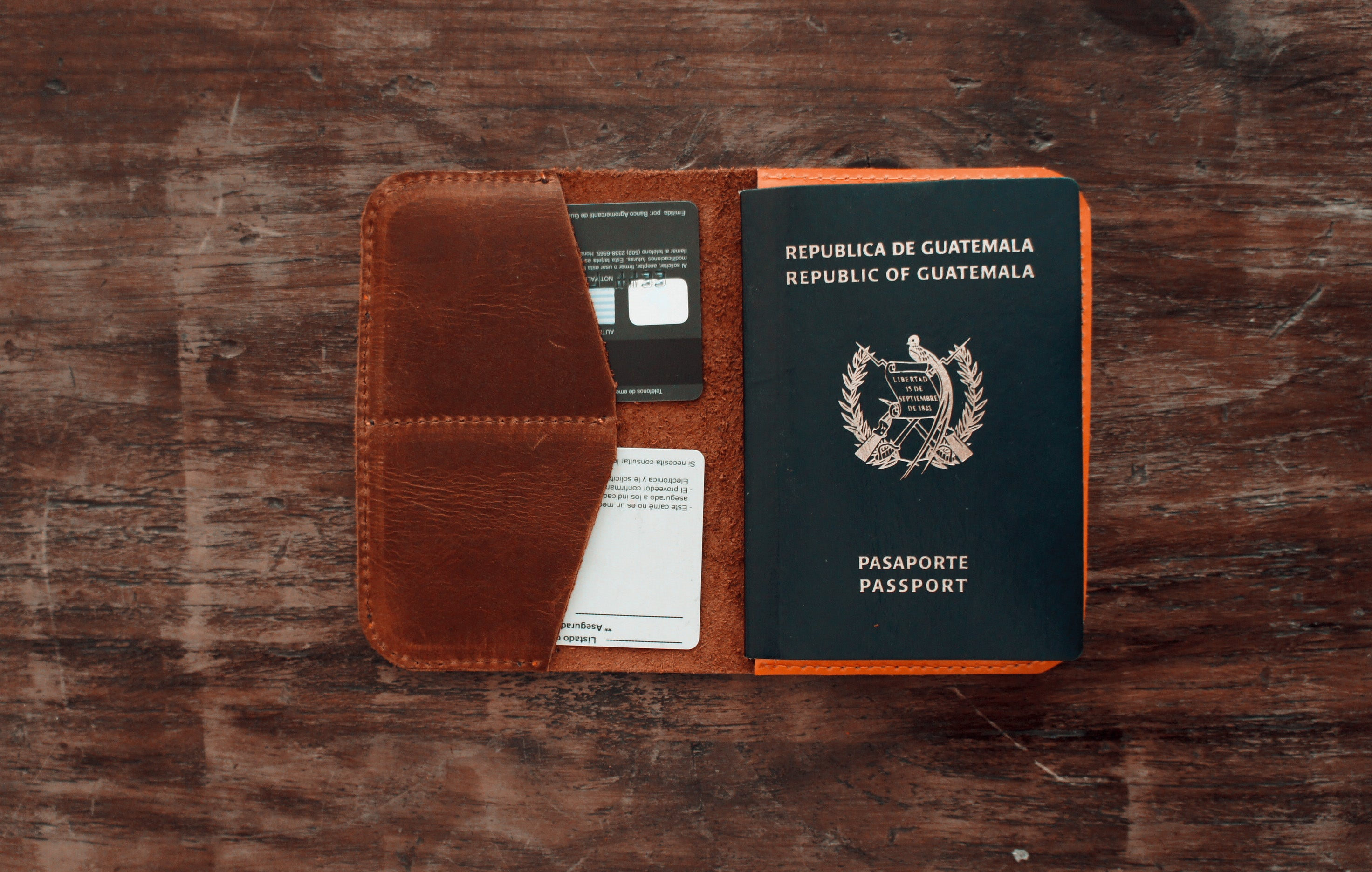 Handmade brown leather passport wallet
