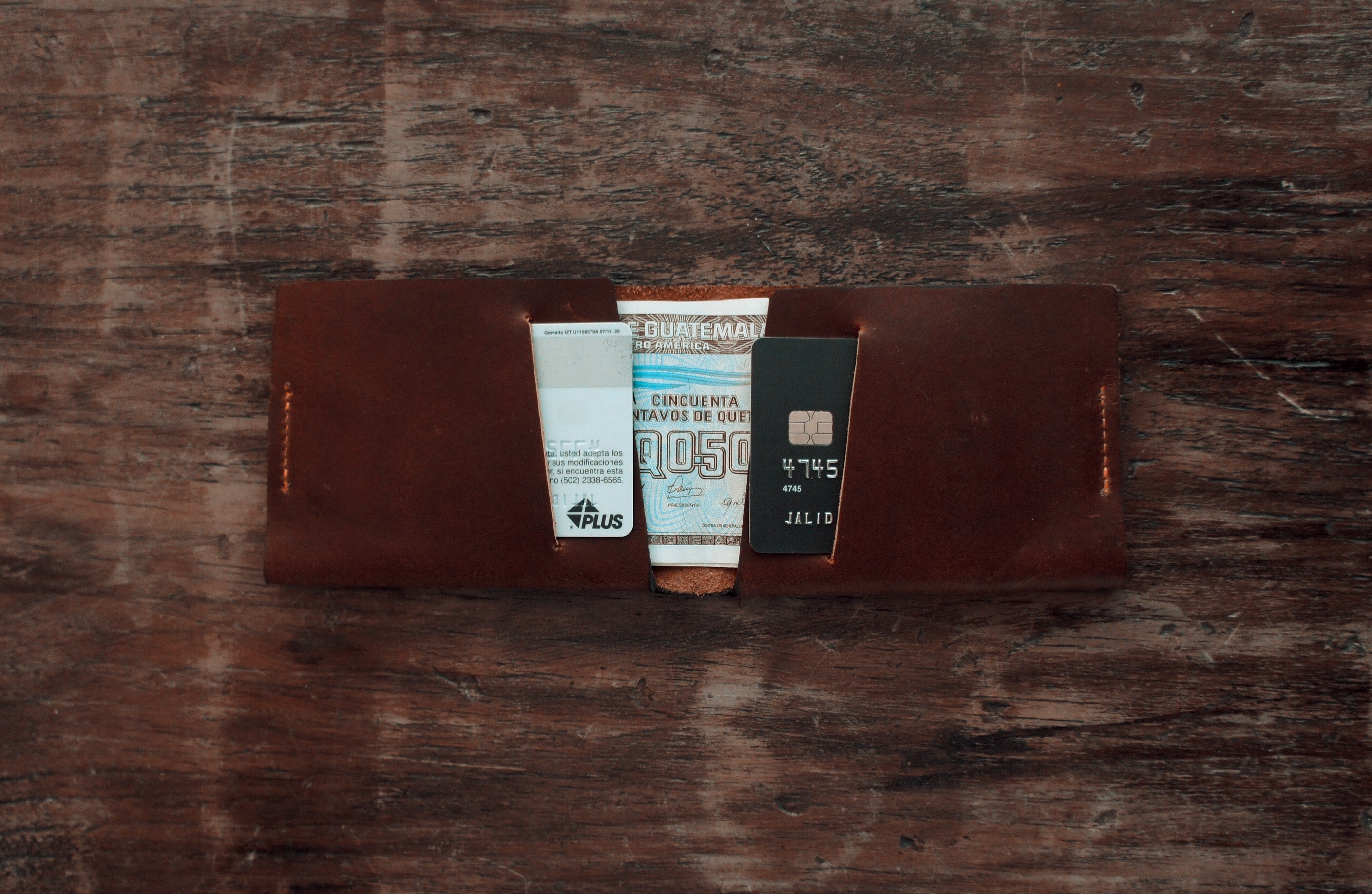 handmade brown leather bifold slim wallet, inside