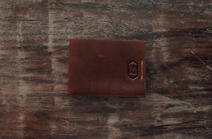 handmade brown leather bifold slim wallet, front side