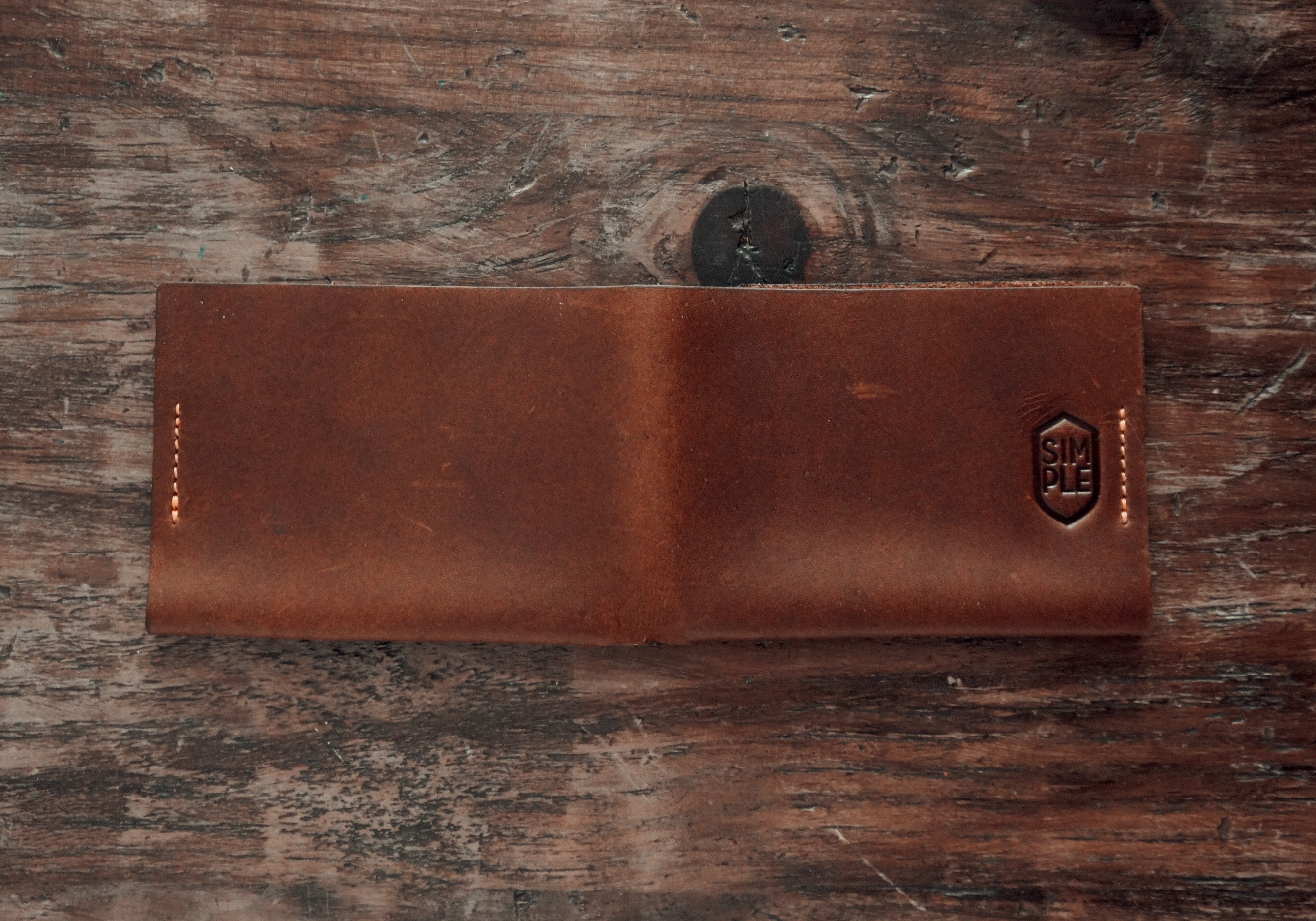handmade brown leather bifold slim wallet, open back side