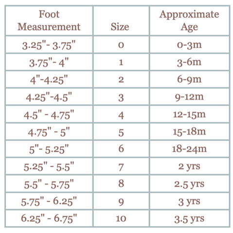 Sun and Lace size chart