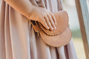 Scalloped Leather Bag in Camel
