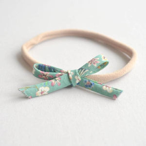 Green Floral Dainty Bow Nylon Headband