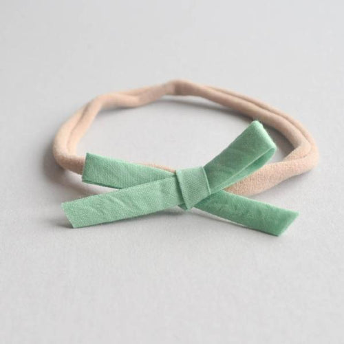Green Dainty Bow Nylon Headband