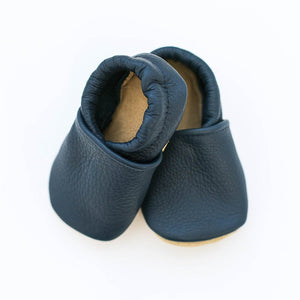 navy blue leather baby moccs
