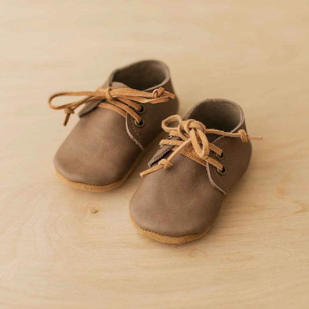 taupe baby oxfords