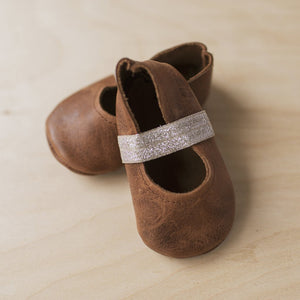 brown leather holiday Mary Jane shoes. Soft sole Mary Janes.