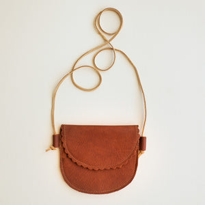Scalloped Leather Bag in Cognac