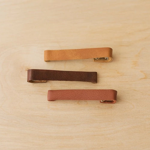 Large Leather Barrettes