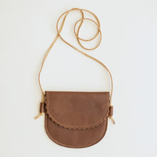 Scalloped Leather Bag in Brown