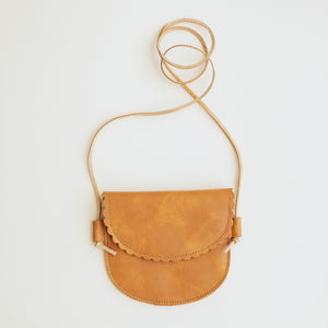 Scalloped Leather Bag in Apricot