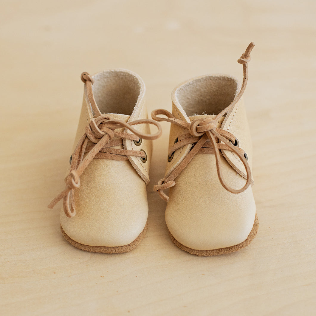 cream leather baby boots