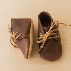 dark brown leather baby boots
