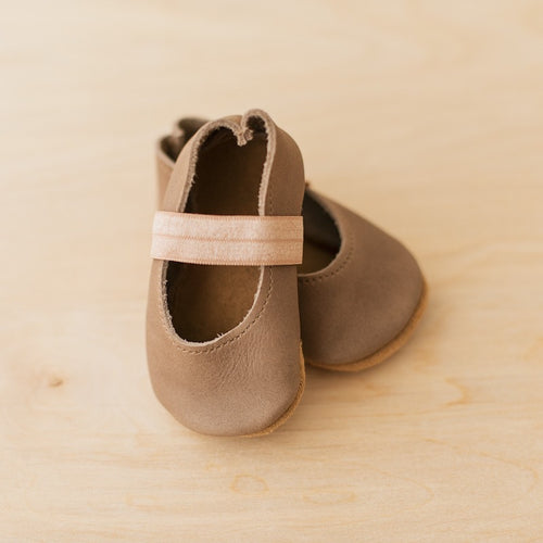 size 4 baby Mary Janes in taupe