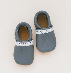 gray leather baby shoes for girls