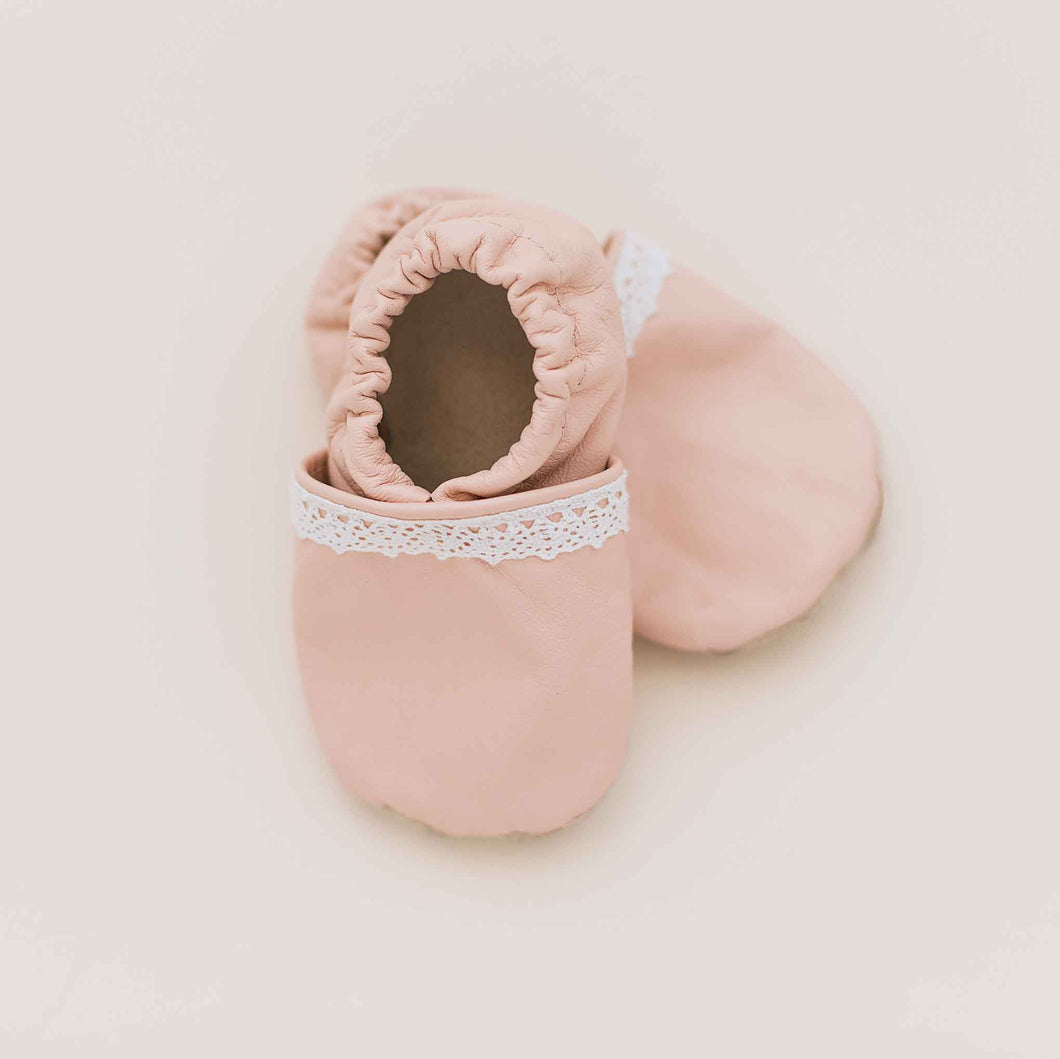 ballet pink baby shoes slip on moccs