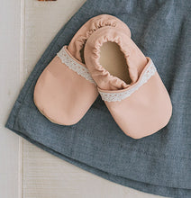 ballet pink leather baby moccs. slip-on leather baby shoes