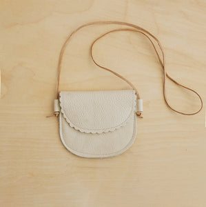 Scalloped leather bag in Cream