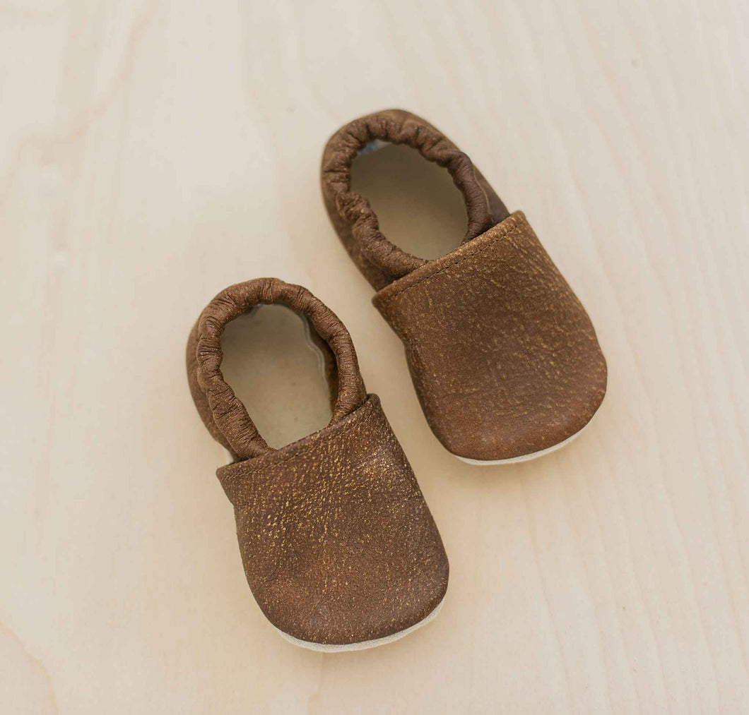 gender neutral brown slip on baby moccs